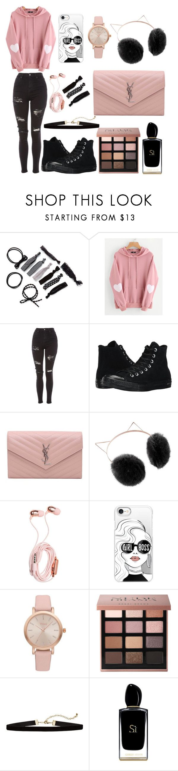 """""""Girl Boss"""" by mirjamke ❤ liked on Polyvore featuring WithChic, Topshop, Converse, Yves Saint Laurent, LC Lauren Conrad, Casetify, Vivani, Bobbi Brown Cosmetics and Giorgio Armani"""