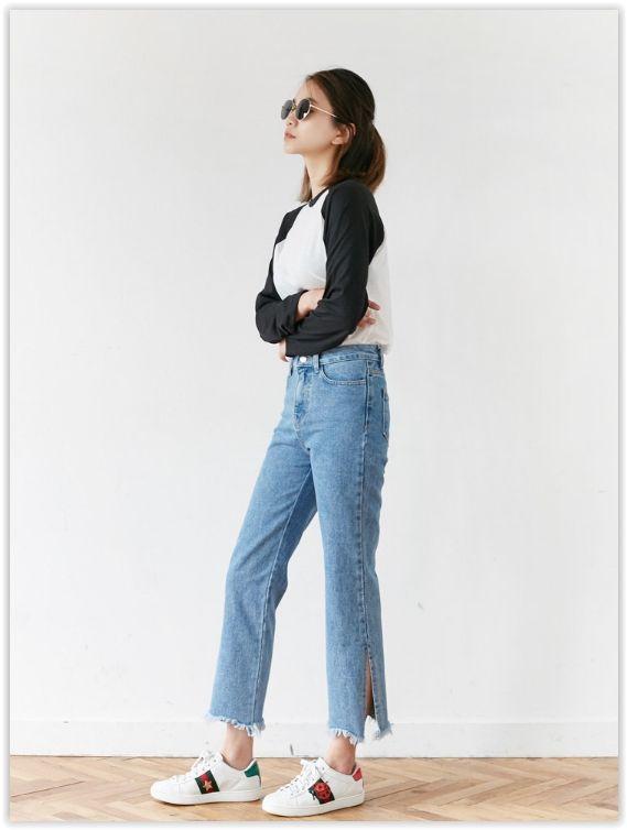 FROMBEGINNING - Slit-Hem Straight-Cut Jeans