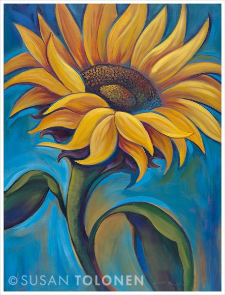 Yellow sunflower painting by Susan Tolonen