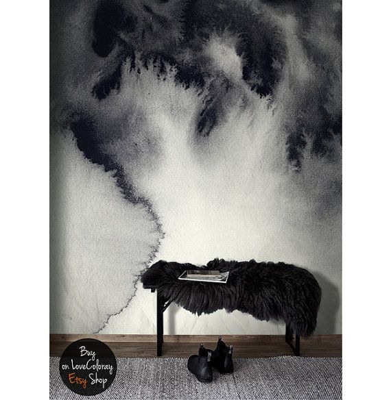 Dark vintage ink art wall mural / Painted art /  Removable wallpaper by loveCOLORAY