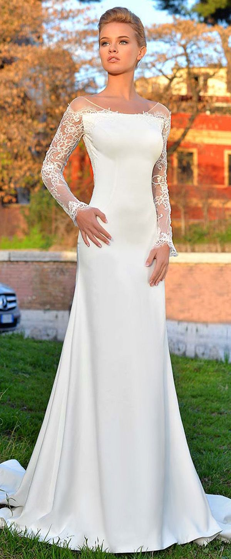 Amazing Tulle & Acetate Satin Scoop Neckline Sheath/Column Wedding Dress With Lace Appliques
