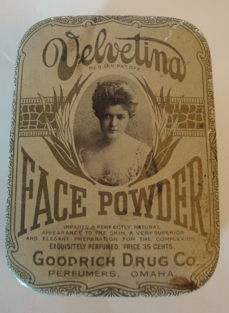 Antique Early 1915 Velvetina Face Powder Tin Box Goodrich Drug Co. Omaha w/stamp