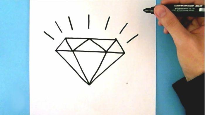 Apprendre A Dessiner Facilement Dessin Diamant Facile A Faire Inspiration Pour Commencer Avec Lignes Simples Diamant Dessin Dessins Faciles Comment Dessiner