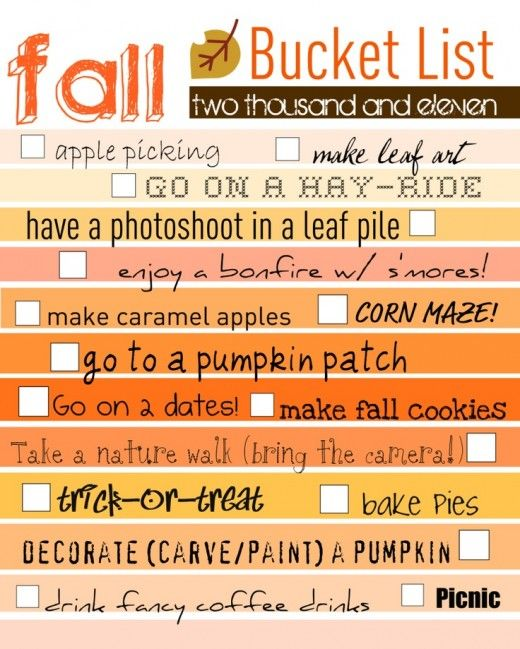 printable fall bucket list