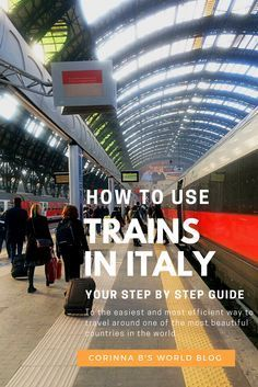 How To Travel (The Easy Way) Around Italy By Train. How To Use Trains In Italy. Here is your step by step guide to using trains in Italy. Train travel in Italy is fantastic! It's fast, efficient and really inexpensive. Once you know how to use the train system in Italy the entire country opens up to you with endless possibilities to explore and discover! If you enjoy this post, please repin it!
