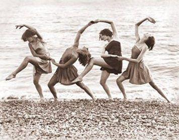Dancing on the beach.