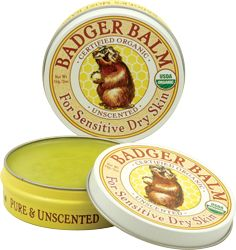 amazingly moisturizing, natural balm. I am so addicted. it's just olive oil & beeswax no petrochemicals. I use it on my lips & face. Love it! Badger balm $8