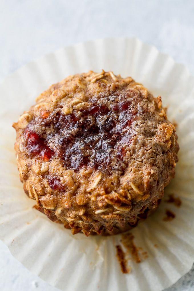 These Almond Butter and Jelly Baked Oatmeal Cups are gluten-free, refined sugar-free, super easy to make, and pack almost 6g of protein!