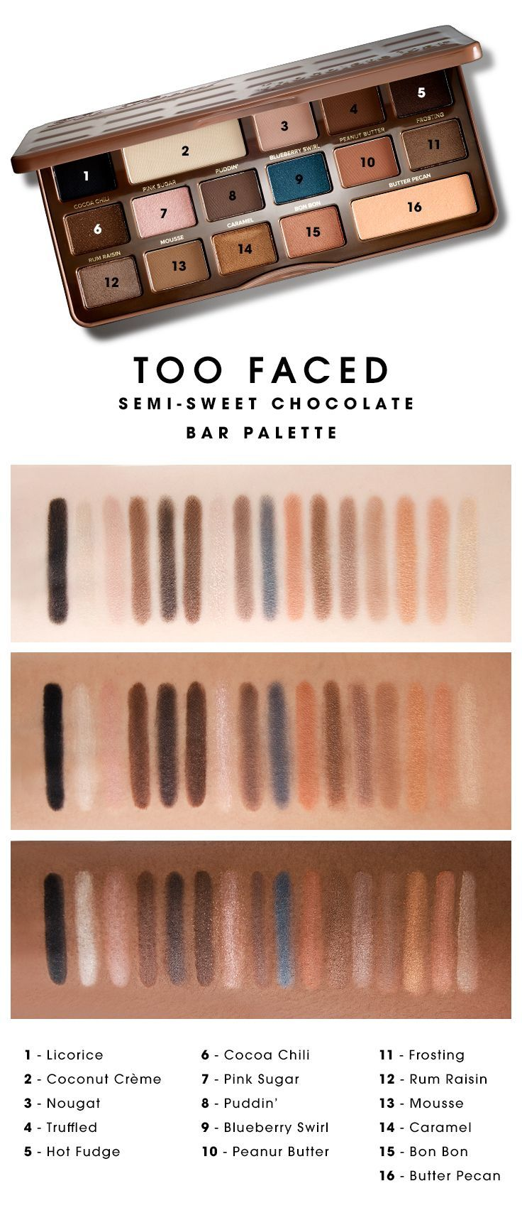 We swatched the Too Faced Semi-Sweet Chocolate Bar Palette to see how the colors looked on different skin tones. What do you think? #Sephora #swatches