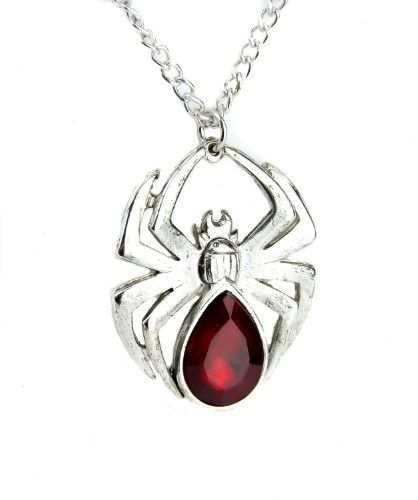Blood Red Stone Gothic Spider Necklace Halloween Pendant Jewelry