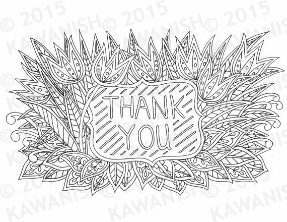 Thank you floral flower zentangle adult coloring page gift