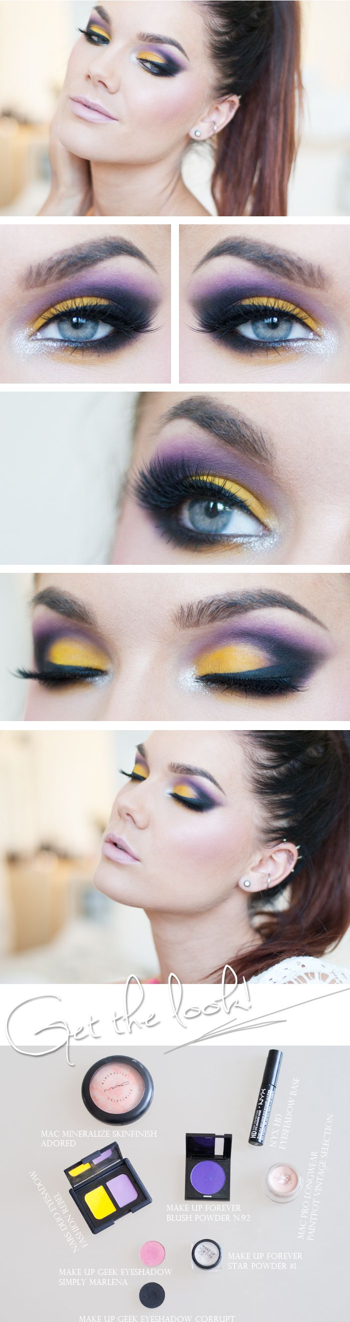 "Today's Look : ""Valerie Vixen Species"" -Linda Hallberg (Love this look! Violet and Yellow pack a powerful punch in this eye look. What a gorgeous color smokey eye.) 07/12/13NYX HD eyeshadow base  NARS duo eyeshadow fashion rebel Makeup Forever Blush powder n.92Makeup geek eyeshadow Corrup Makeup geek eyeshadow Simply MarlenaMAC Pro long wear paint pot Vintage selection"