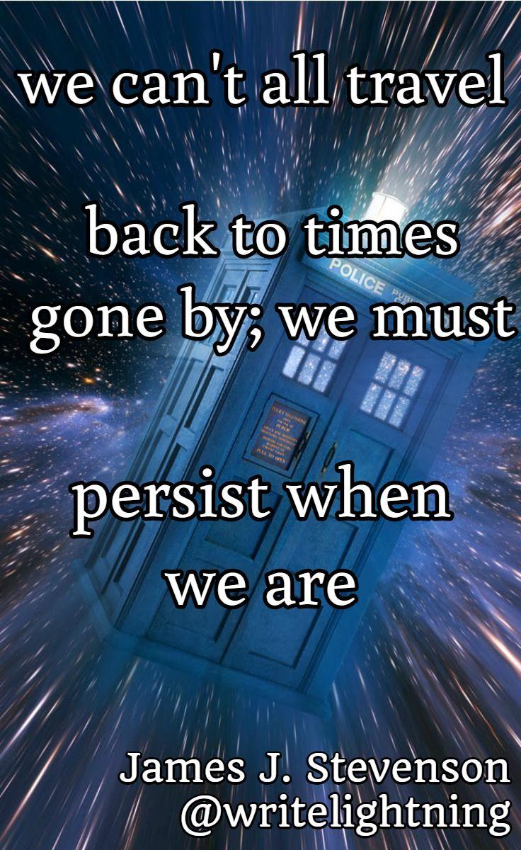 TARDIS Dr. Who haiku. Poetry by James J. Stevenson.