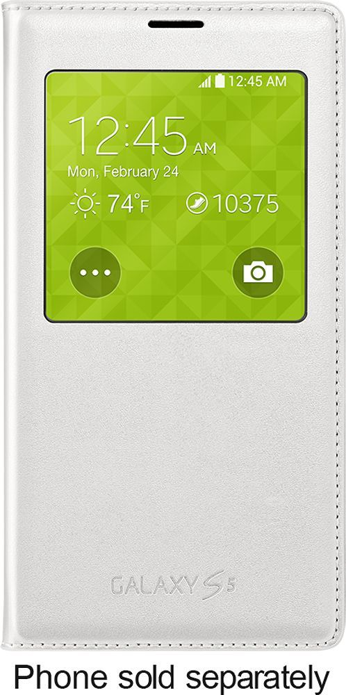 Samsung - S-View Flip Cover for Samsung Galaxy S 5 Cell Phones - White, SAM S-VIEW, WHITE GS5