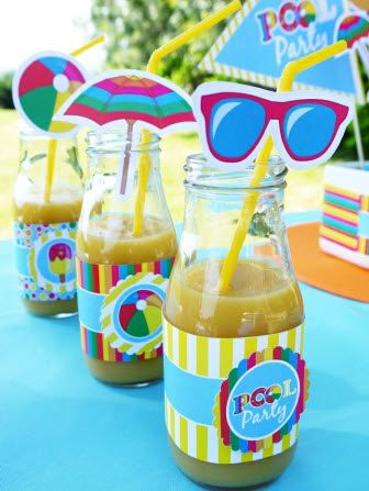 Pool Party Drinks with cute straw decorations