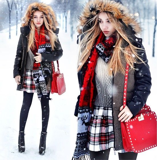 Choies Coat, Romwe Sweater, In Love With Fashion Skirt, Chicwish Scarf, Style Moi Bag, Choies Tights
