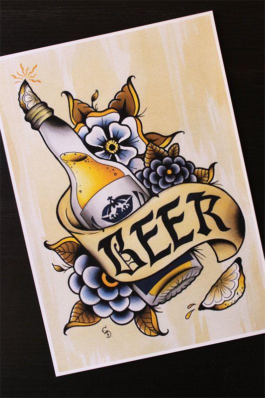 Corona cerveza 11 x 14 tradicional Tattoo Flash por Yukittenme
