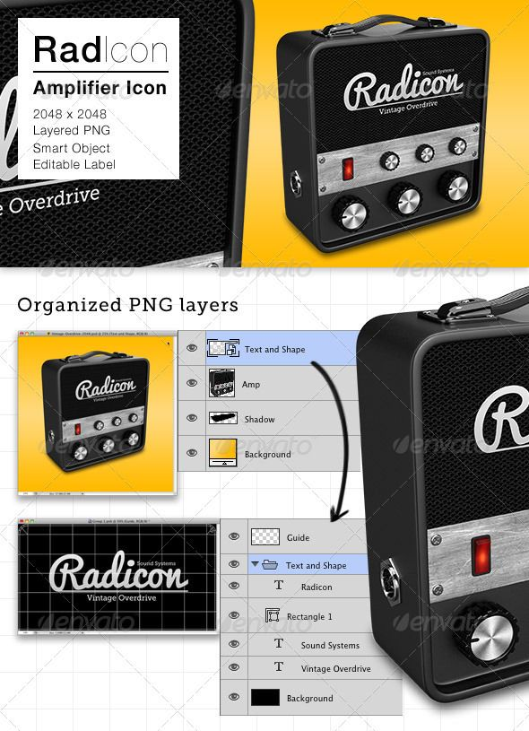 Radicon Amplifier Icon  #GraphicRiver         A Classic Amplifier icon with editable label in front of the speaker panel, suitable for audio applications.  	 2500×2500 PSD file with organized layered transparent PNG , the artwork dimension is 2048×2048  	 The Amplifier and icons shadow are in separate layer. The label is editable text and shape layer inside a smart object. The font is Pacifico and Museo Slab.  	 Note: Rescaling with layers intact will produce jaggy edges with smart object…