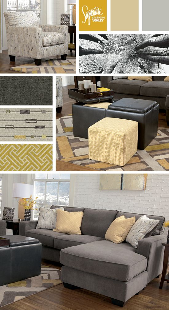 Gray Yellow Living Room Hodan Sectional Ashley Furniture Stylish Sectionals Pinterest