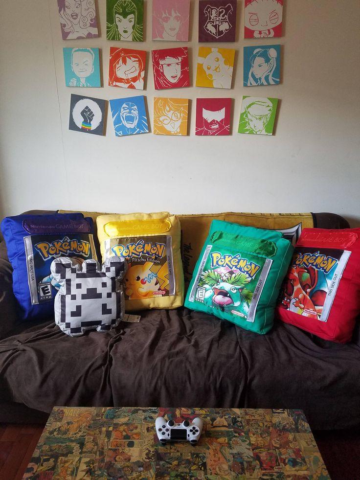[OC] I made Gen 1 Pokemon cartridge pillows