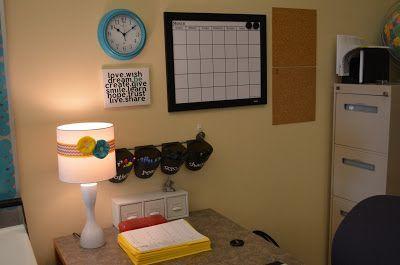 This is a cute little teacher work space design. It makes a teacher's desk feel cozy in a classroom.