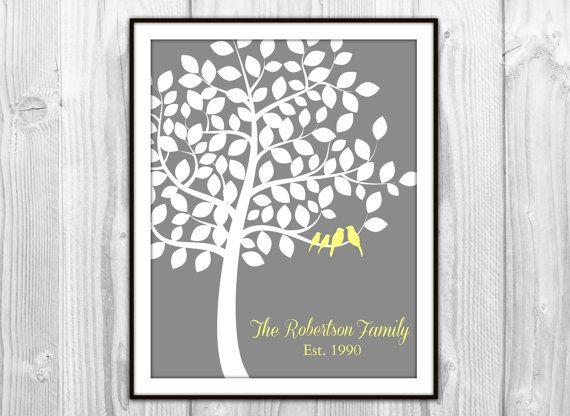 Family Tree Wedding Gift: Custom Family Tree Art Print