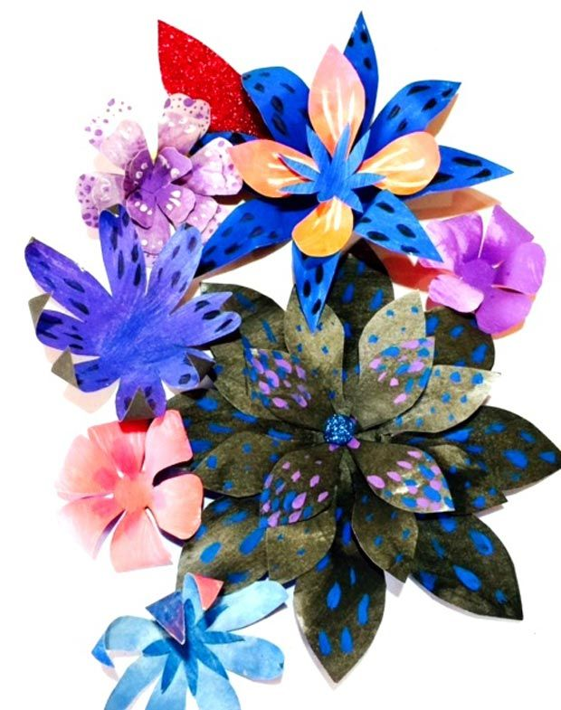 161 best templates printables and craft activities by for Painted paper flowers