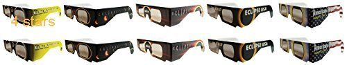 Eclipse Glasses  CE Certified Safe Solar Eclipse Glasses  10pk Assorted- Eye Protection