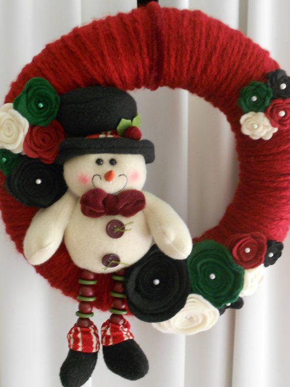Christmas Wreath Snowman Yarn and Felt by AngelasAntics on Etsy, $25.00
