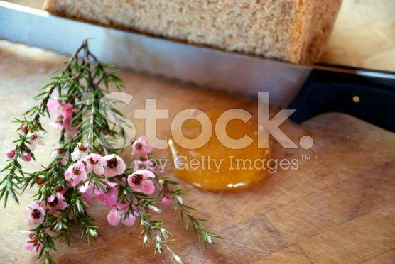 Manuka Honey, Flower and Bread royalty-free stock photo
