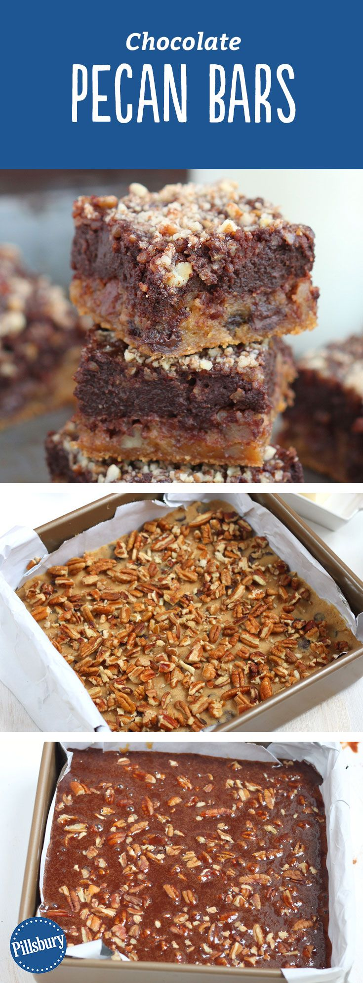 These Chocolate Pecan Bars went overboard on gooeyness topped with chocolate and pecans. We recommend making them over and over again.