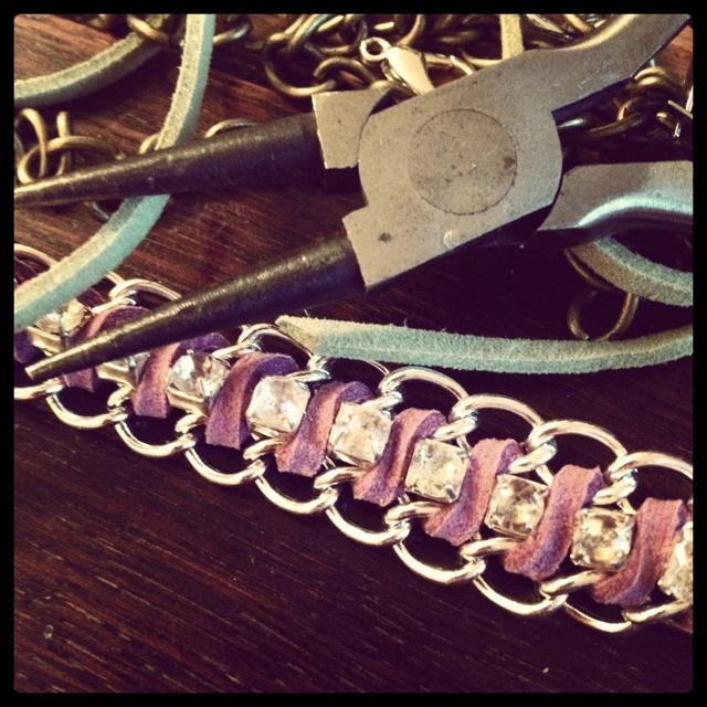 Making bracelets.