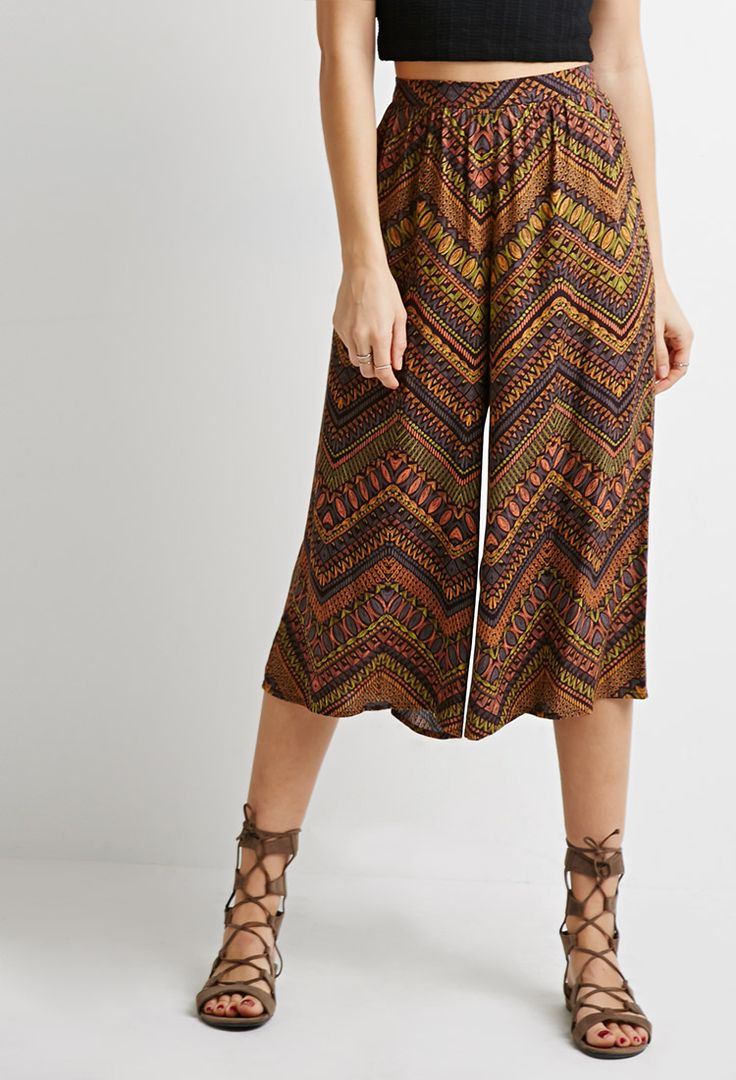 Abstract Chevron Print Culottes | Forever 21 - 2000053267