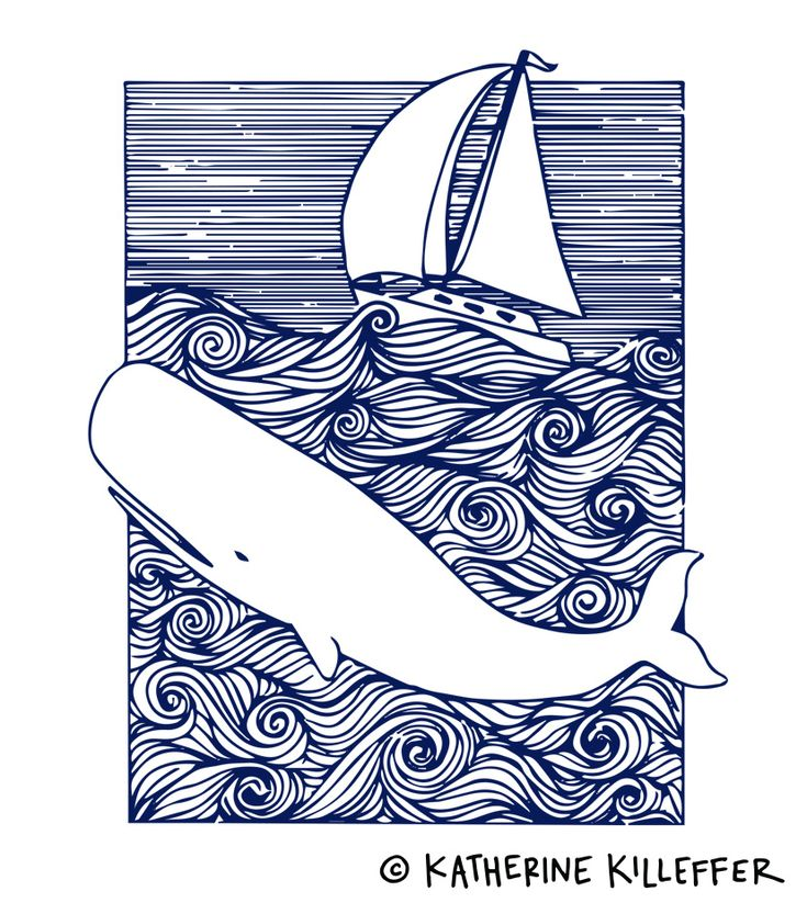 moby dick bookplate illustration | pen and ink | navy | nautical | line drawing | whale | sailboat | rough seas | ocean pattern | katherinekilleffer.com