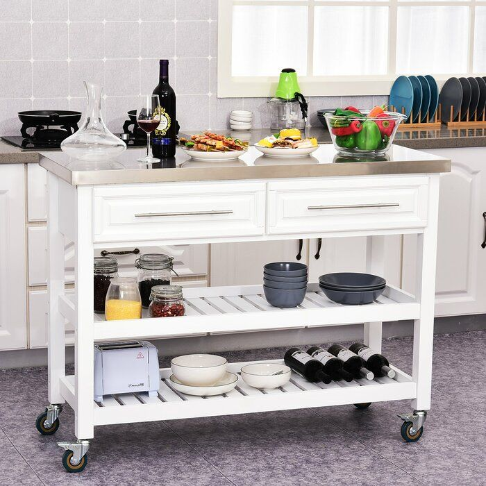 Kourtney Rolling Kitchen Island With Stainless Steel Top Rolling Kitchen Island Kitchen Tops Kitchen Island With Sink