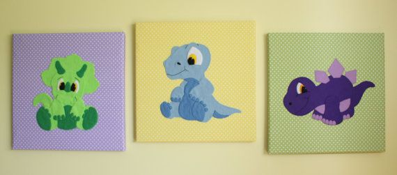 Set Of 3 Handmade Children's Felt Fabric Baby Dinosaur Canvas Pictures Wall Art Wall Hangings Decor Handmade Gifts