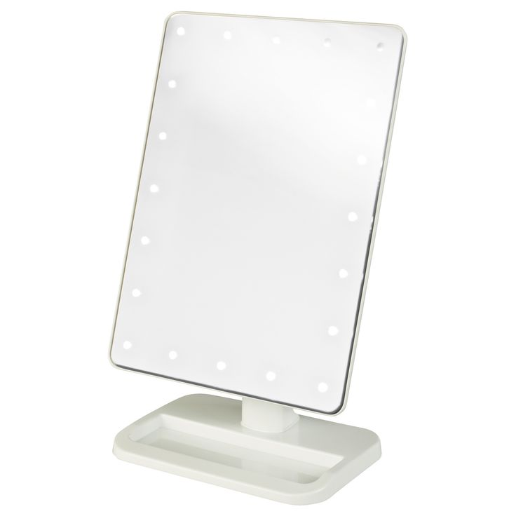 The Jerdon 8-inch 10x LED Lighted Makeup Mirror is a portable bathroom and makeup accessory that uses LED lights to provide a clean, bright reflection. This mirror stands 11 inches high and features a storage accessory tray is located at the base.