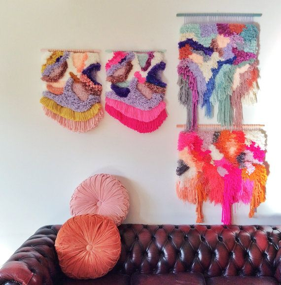 MADE TO ORDER Woven wall hanging / Furry Lanscape n.6 by jujujus made to resemble paintings