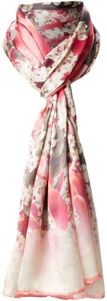 TED BAKER Bloom Print Long Silk Scarf