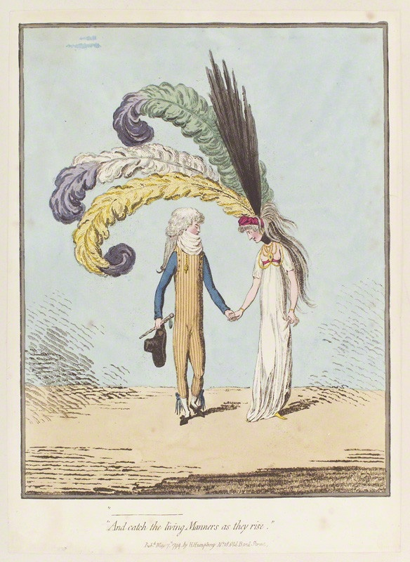 "Hand-coloured Etching and Aquatint, ""And catch the living manners as they rise,"" by James Gillray (1756-1815), published by Hannah Humphrey (active 1778-1822):7 May 1794."