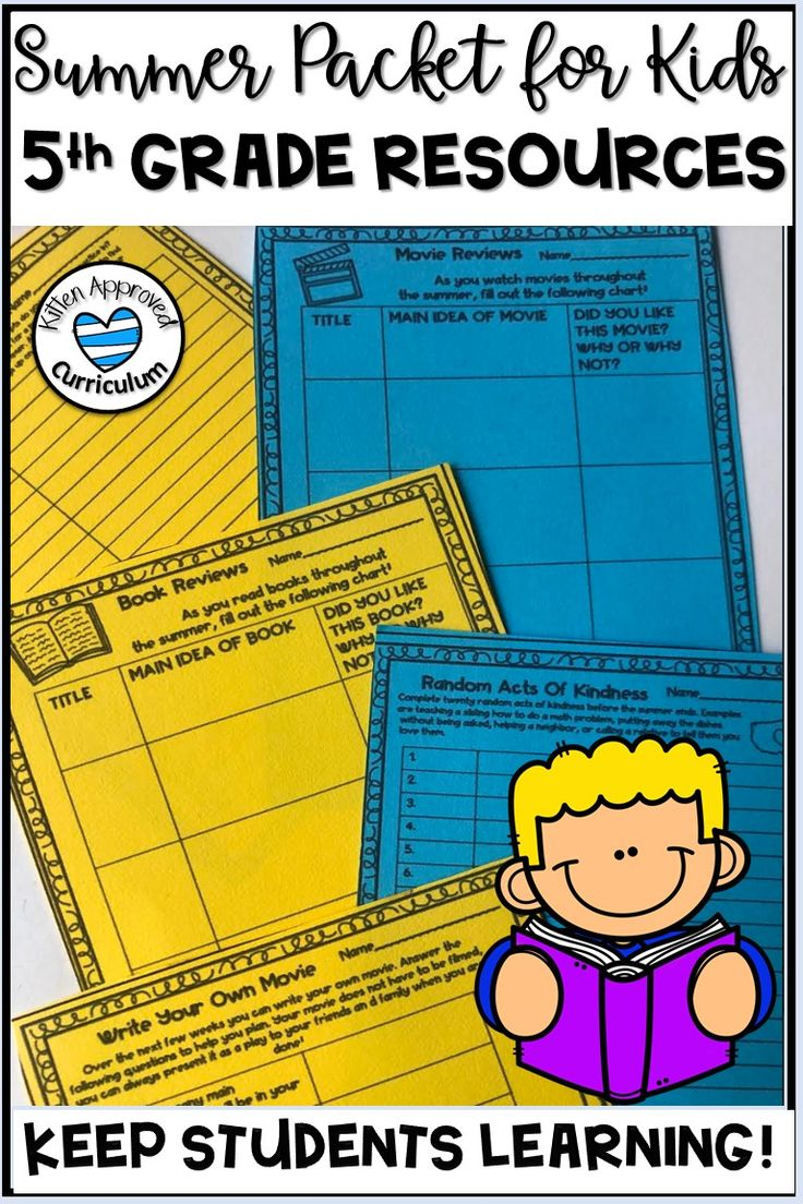 Summer Packet For 5th Graders Going Into 6th Grade (With