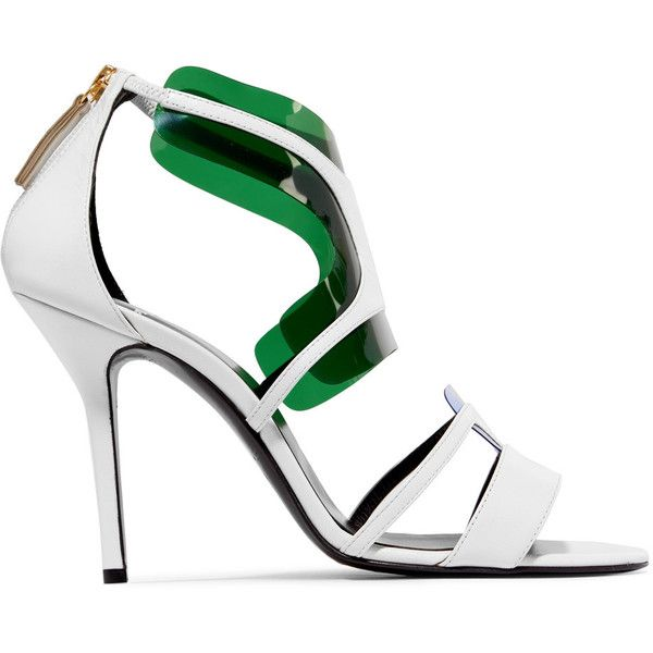 Pierre Hardy PVC-trimmed leather sandals (16.580 RUB) ❤ liked on Polyvore featuring shoes, sandals, white, white shoes, white strappy sandals, strappy high heel sandals, strappy leather sandals and leather strap sandals