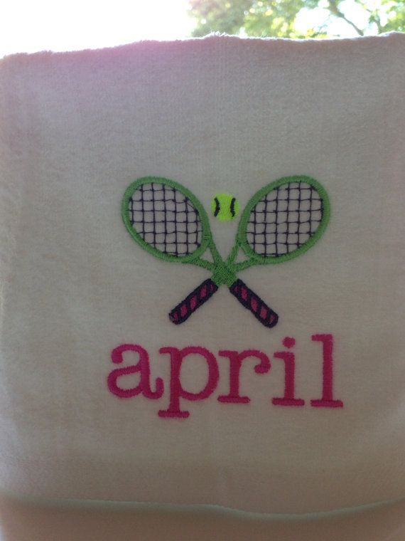 One Personalized Tennis Racquet Sports Towel 16 x 27 by sweetharsh, $13.00