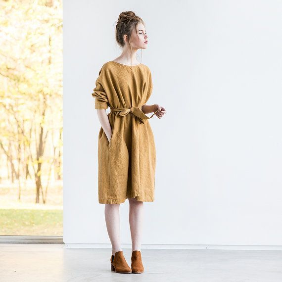 Oversized loose fitting linen dress with DROP SHOULDER long