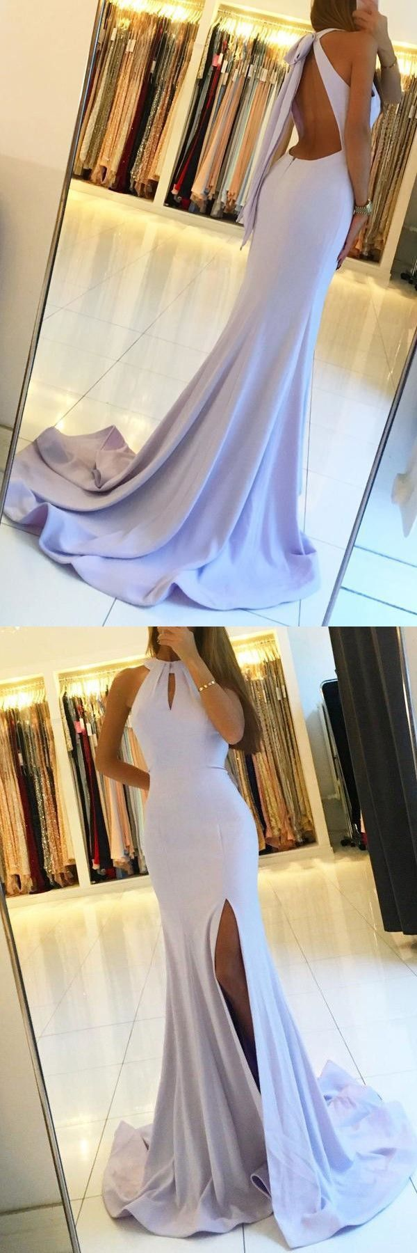 mermaid baby blue prom party dresses with special back, modest key hole evening gowns slit, #dresses #promdresses