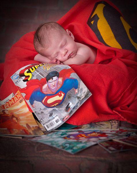 Newborn baby pose superman comic book