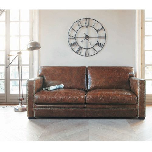 Canap 3 4 places en cuir marron dandy leather sofas for Canape leather sofa