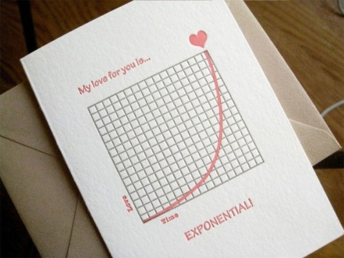 Paper Goods - Valentine's Day - Exponential Love Note Letterpress Card