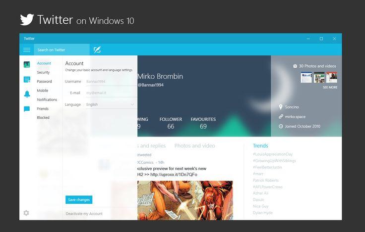 Twitter Settings on Windows 10 - Concept by bannax1994.deviantart.com on @DeviantArt