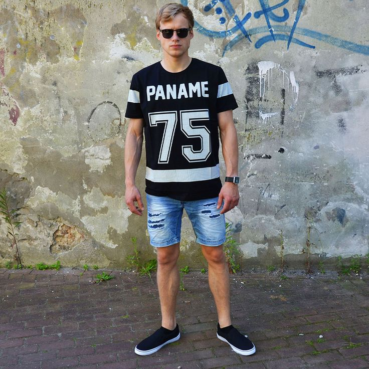 Paname T | Ripped shorts | Slip on's | Sunglasses Clubmaster http://mymenfashion.com/paname-t-shirt.html
